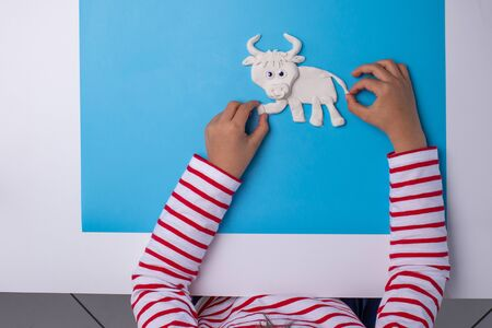 ox or bull modelling clay or salty dough craft concept for kid and kindergarten, year of the ox, how to make bull, step by step instruction, tutorial, DIY, barnyard animal, kids hand Фото со стока - 150025255