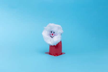 holiday crafts for kids, DIY, easy Santa Claus craft made fom yogurt plastic can