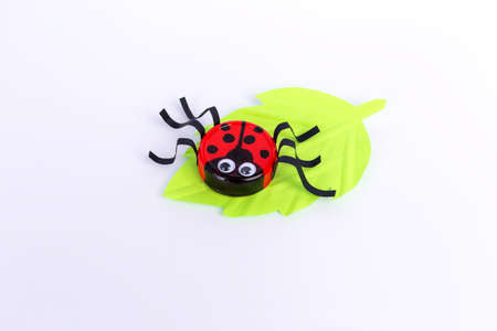 easy plastic cap kids craft, ladybug art project, DIY, step 2, kindergarten and school of creativity, activity for preschooler kids, simple craft Фото со стока - 152267342