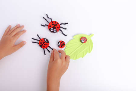childrens creativity. handicraft from improvised means. ladybugs craft from bottle caps. recycled plastic. simple and cheap. activity for the child