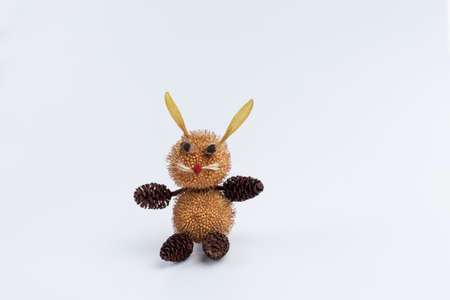 Funny character made by child from nature material from forest
