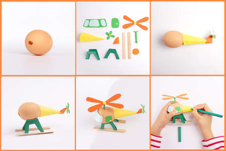 how to make a helicopter from eggshell, step by step instruction, DIY, craft activity for kids