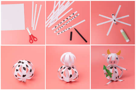 paper cow craft for kids, step by step instruction, DIY, year of the ox concept Фото со стока