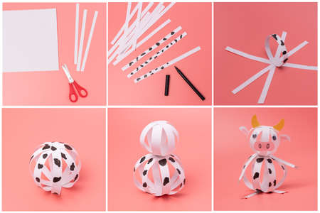 paper cow craft for kids, step by step instruction, DIY, year of the ox concept, easy fun project for young