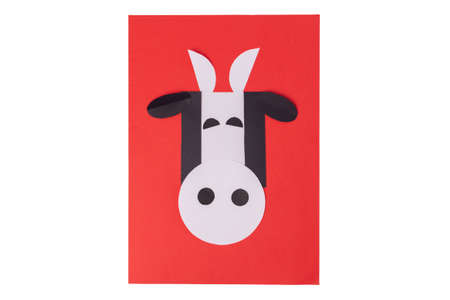 easy shape paper cow craft for kids, step by step instruction, DIY, year of the ox concept