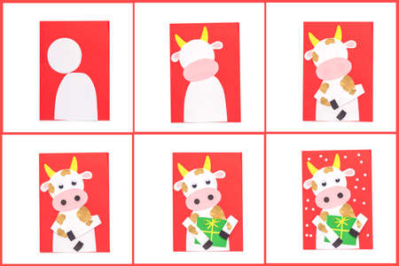 how to make a cow, step by step instruction, DIY, year of the ox craft activity for kids, New Year card master class, paper applique Фото со стока