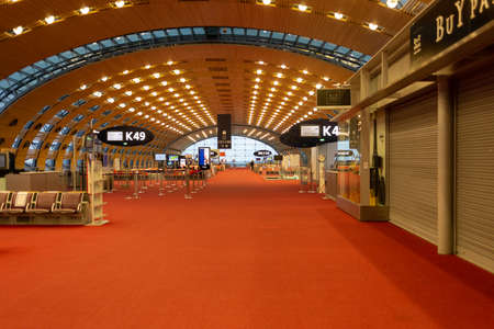 Paris, France - January 16 2021: empty terminal at Charles de Gaulle airport during a pandemic