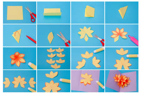 how to make holiday card with paper flowers, DIY, simple craft for kids, tutorial, step by step instruction