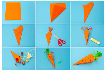 DIY paper carrot craft, how to make easter treat box, tutorial, step by step instruction, art project for kids Фото со стока
