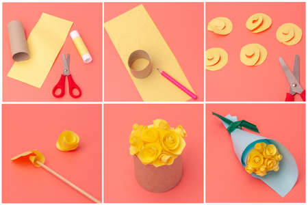 spring holiday concept craft for kids, easy paper flowers art project, DIY, tutorial