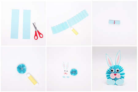 DIY easter craft for kids, simple paper bunny tutorial Фото со стока