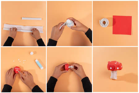how to make a mushroom from paper, step by step instruction, DIY, autumn craft activity for kids