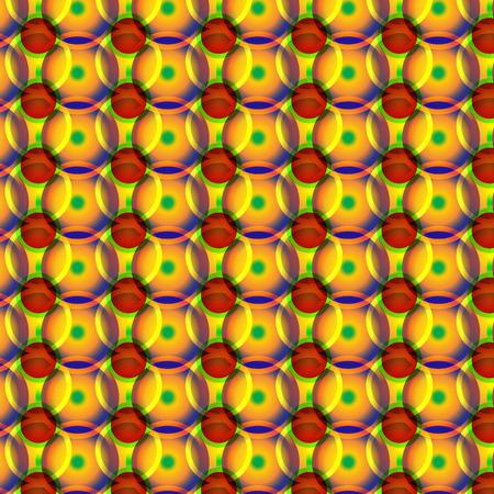 surrealistic: yellow red green wheels pattern Illustration