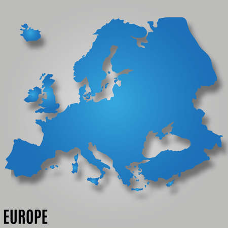 EUROPE MAP continent VECTOR wit shadow illustration 일러스트