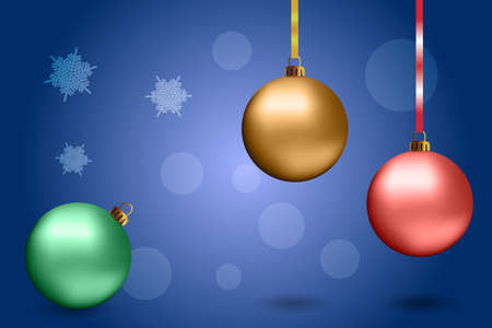 nitid: Christmas golden balls on the gray background. Vector design elements.