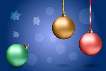 Christmas golden balls on the gray background. Vector design elements.