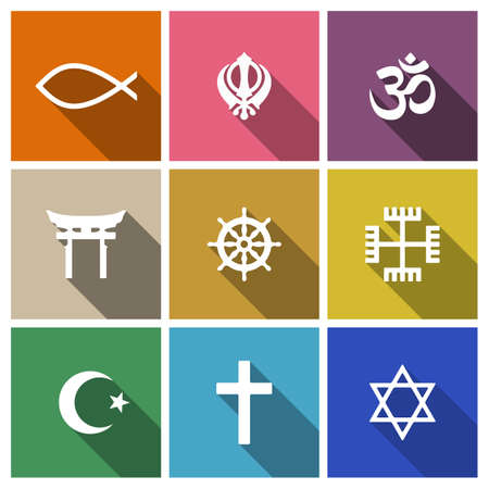 jainism: World religion symbols flat set with christian, Jewish, Islam etc Illustration