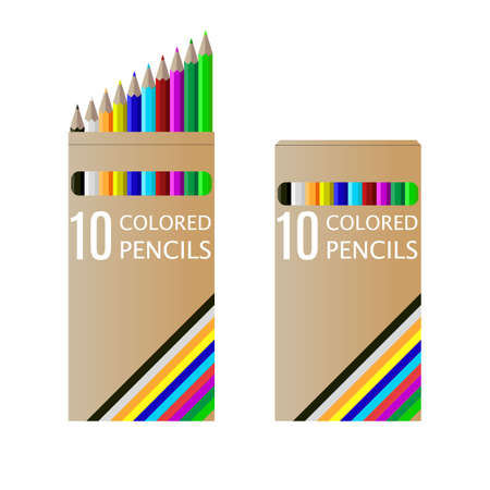 school kit: set of pencils on box vector illustration isolated