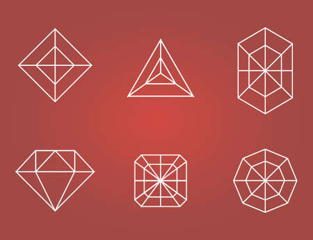 faceting: Set of flat diamonds icons. vector illustration Illustration