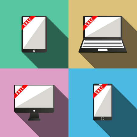touch sensitive: Monitor and tablet computer and mobile phone with ribbons. Vector. Illustration