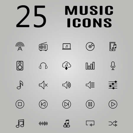 bank records: Music icons for app set vector illustration Illustration