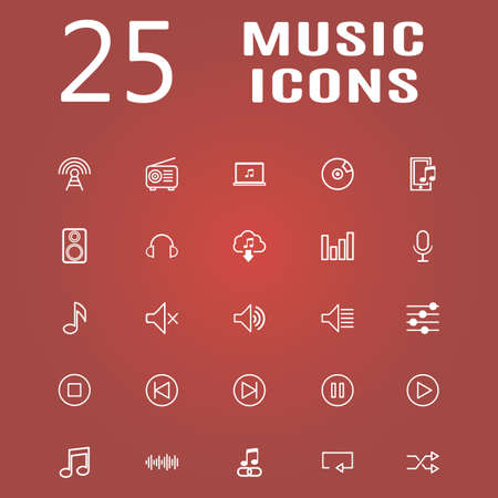 ios: 25 line icon set. Trendy thin and simple icons for Web and Mobile