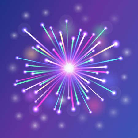 brightly: brightly colorful fireworks blue white red green orange Illustration
