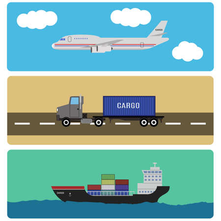 cargo containers: shipment and cargo infographics elements. air, ship, and truck transportation