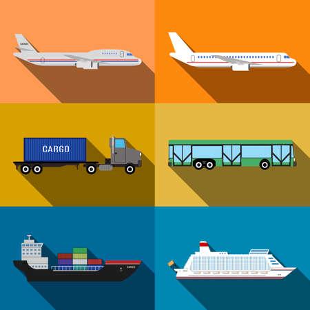 transporte terrestre: El transporte por aire y el agua del suelo alrededor de la ilustración vectorial aislado concepto del mundo