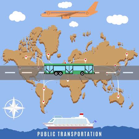 business travel: Vector world map citizen transport connection concept