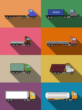 commercial vehicles: flat commercial vehicles set transportation concept illustration Illustration