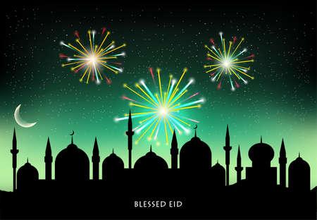 night: Muslim community festival Eid Mubarak celebration with mosque silhouette on fireworks decorated night background.