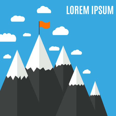 Flat design modern vector illustration concept with flag on the mountain peak