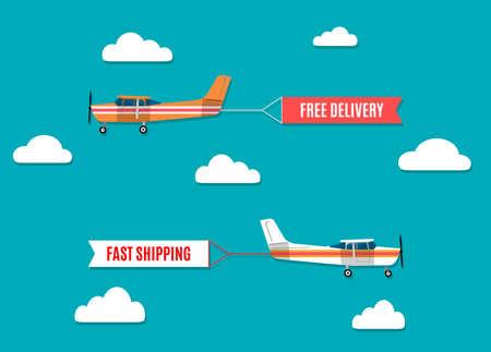 aereo: Vector moderno concetto di design piatto su Flying banner pubblicitari trainati da aereo leggero Vettoriali