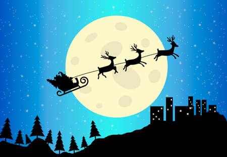 blue santa: Santas Sleigh at city scape and moon vector illustration