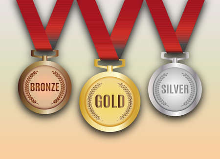 silver metal: Set of gold, silver and bronze medals vector illustration