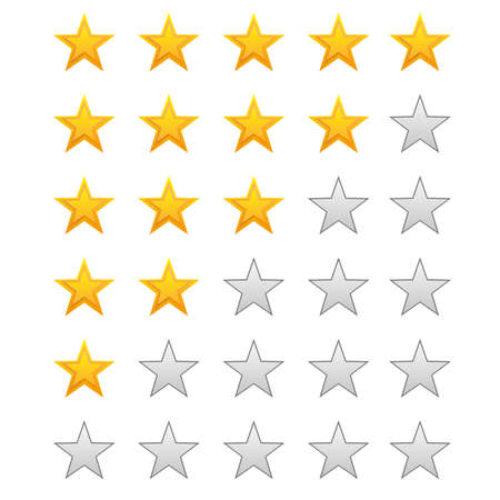 five stars: Five stars ratings on white vector illustration