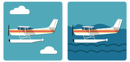 airplane ultralight: Cool flat design aviation amphibian plane landed on water and flying in the sky Illustration