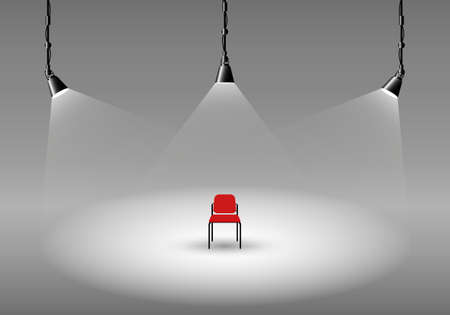 spotlight lamp: Empty photo studio with spotlights and chair. Vector illustration. Grey backdrop.