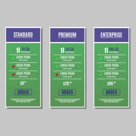 the list plan: Bright pricing table, banner, order, box, button, list and bullet with plan for website