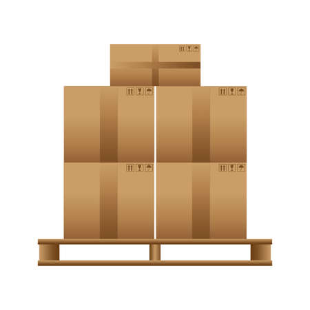 Wooden pallet with cardboard boxes on a white background. Vector
