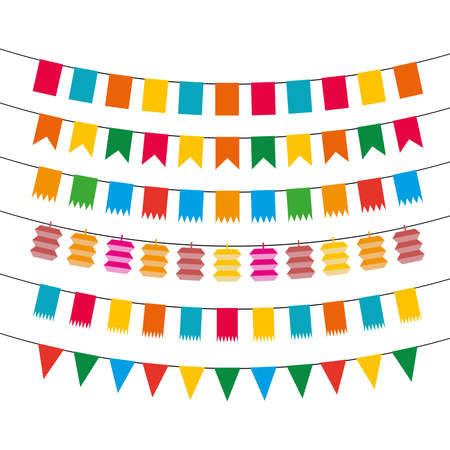 pennant bunting: Color flat pennant bunting collection vector illustration