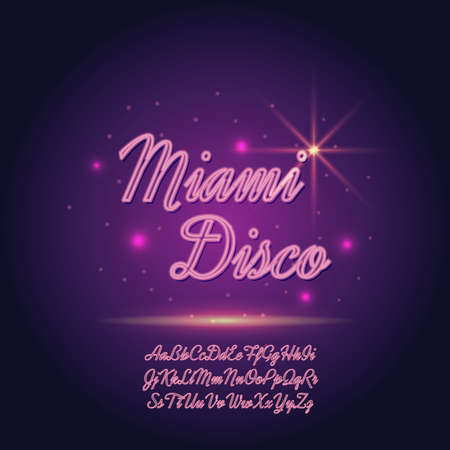 retro disco: Vector neon font on blurred abstract background with sparkles. Illustration