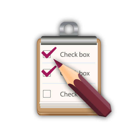 checkboxes: Pencil with notepad with checkboxes vector illustration