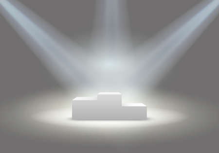 Illuminated business winners podium in grey room vector illustration