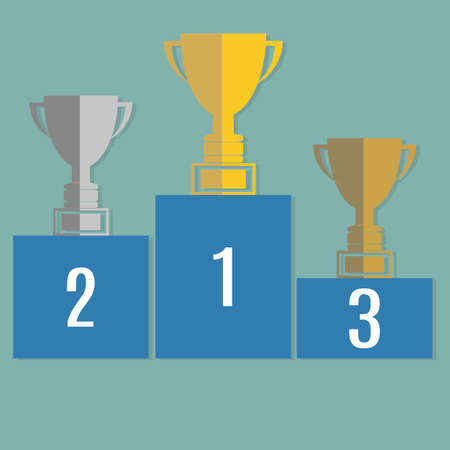 winners podium: Gold, Silver and Bronze Trophy Cup on prize podium. Infographic elements. Vector illustration. Illustration