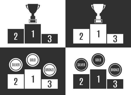 second: Trophy Cup on prize podium. First, second and third place award. Champions or winners Infographic elements.