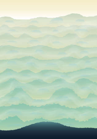 green hills: Vector vertical illustration with green hills and fog Illustration