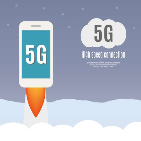 high speed: 5g template with smartphone flying. High speed mobile web technology. vector illustration.
