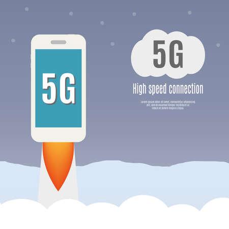 Modèle 5g smartphone vol. Haute vitesse de la technologie du Web mobile. illustration vectorielle. Banque d'images - 45010205